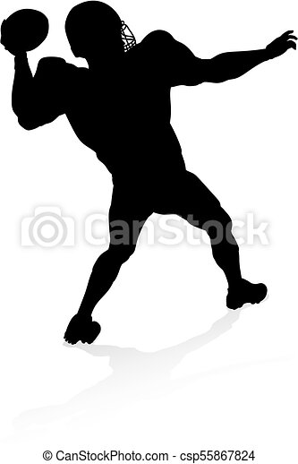 American Football Player Silhouette - csp55867824