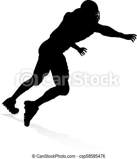 American Football Player Silhouette - csp58585476