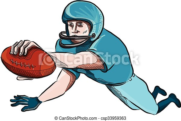 American Football Player Touchdown Drawing - csp33959363
