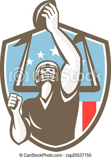 American Football Player Touchdown Goal Post Retro - csp25537150