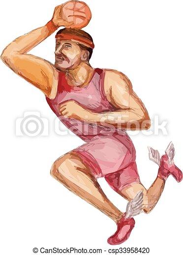American Football Player Touchdown Caricature - csp33958420