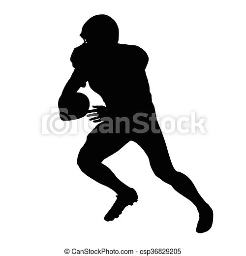 American football player, vector isolated silhouette. Running football player, side view - csp36829205