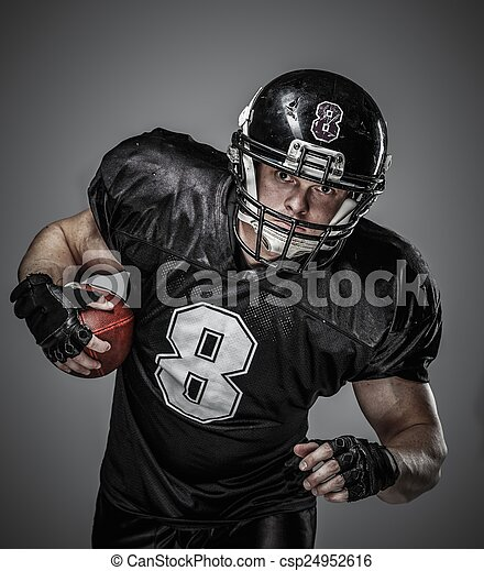 American football player with ball  - csp24952616