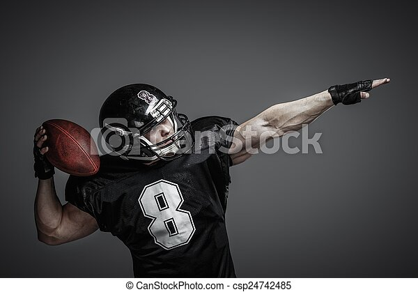 American football player with ball  - csp24742485