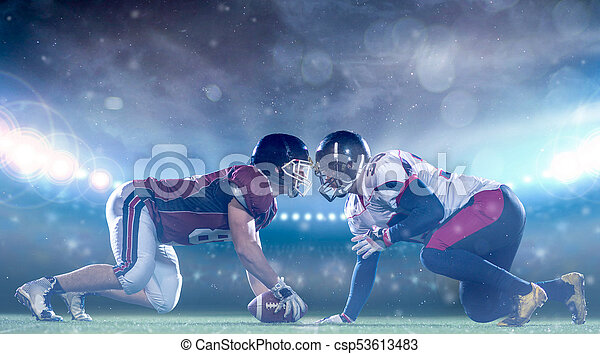 american football players are ready to start - csp53613483