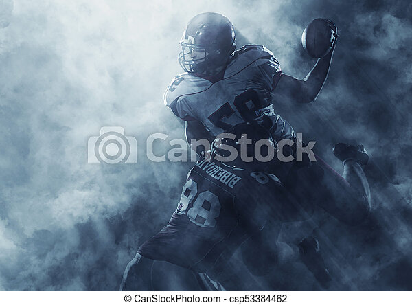 American football players in action - csp53384462