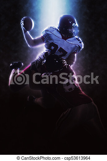 American football players in action - csp53613964