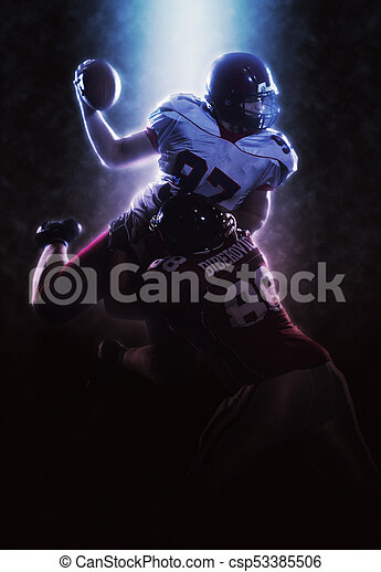 American football players in action - csp53385506