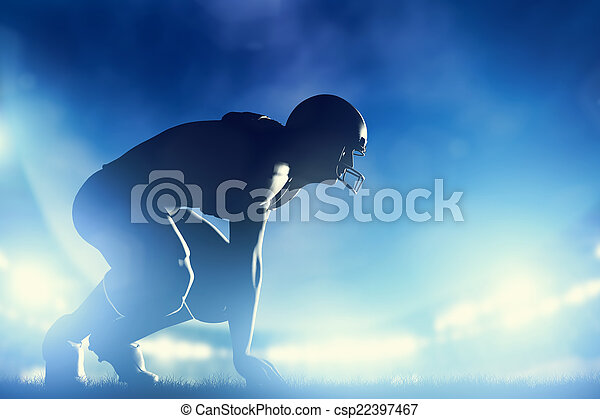 American football players in game. Stadium lights - csp22397467