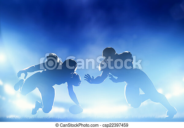 American football players in game, touchdown. Stadium lights - csp22397459