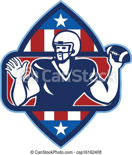 American Football Quarterback Throw Ball - csp16162408