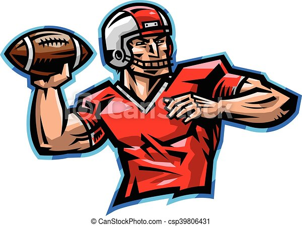 American Football Quarterback Throwing Football Vector Illustration