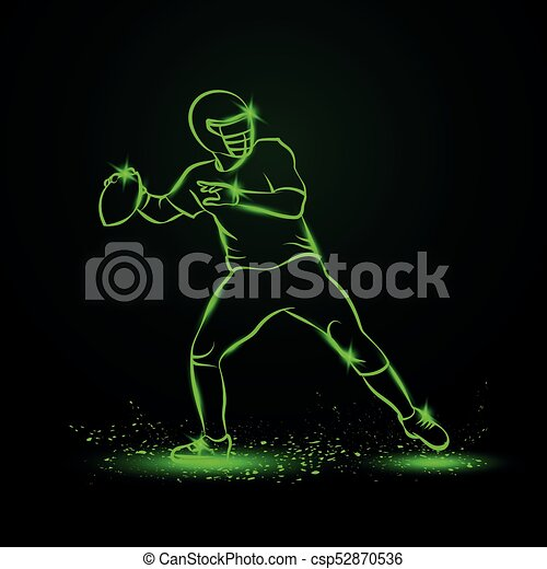 American Football Quarterback Throws The Ball Green Neon Sports Vector Illustration