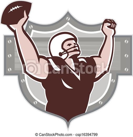 American Football Receiver Touchdown Retro - csp16394799