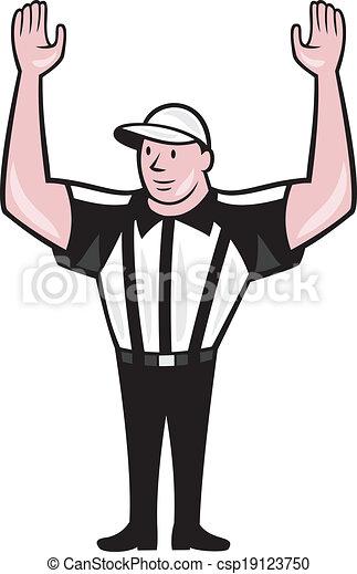 American Football Referee Touchdown Cartoon - csp19123750