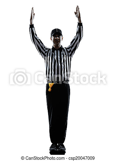 american football referee touchdown gestures silhouette - csp20047009