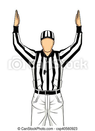 American football referee with both hands up as a touchdown vector - csp40560923