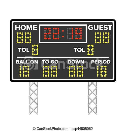 American Football Scoreboard. Sport Game Score. Digital LED Dots. Vector Illustration. Time, Guest, Home. - csp44805062