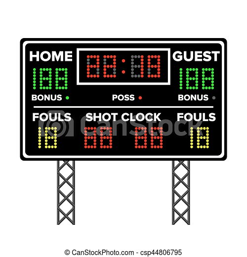 american football scoreboard time guest home electronic eps rh canstockphoto com basketball scoreboard clipart scores clipart