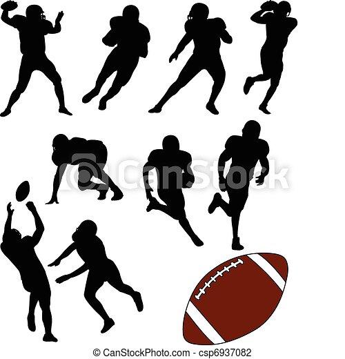 American football silhouettes - csp6937082