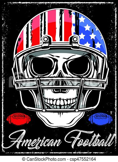American football Skull Varsity t shirt graphics vector graphics and typography t-shirt design - csp47552164