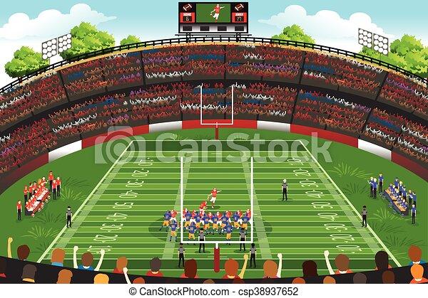 american football stadium scene a vector illustration of american rh canstockphoto com football stadium lights clipart football ground clipart