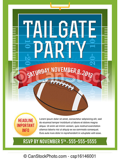 American Football Tailgate Party Flyer Design - csp16146001