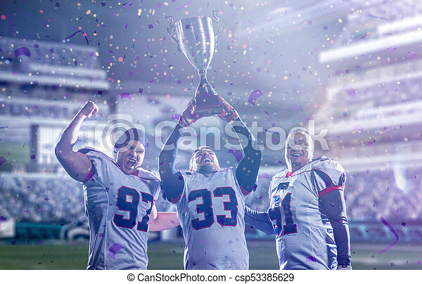 american football team with trophy celebrating victory in the cup final - csp53385629