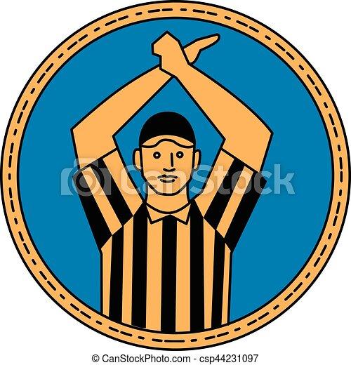 American Football Umpire Hand Signal Circle Mono Line - csp44231097