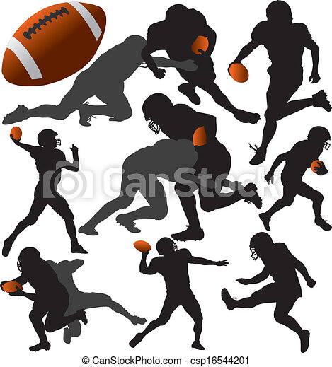american football vector silhouettes layered fully editable