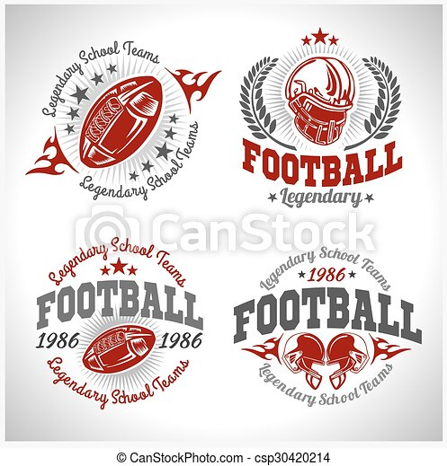 American football vintage vector labels for poster, flyer or t-shirt print. Vector stock. - csp30420214