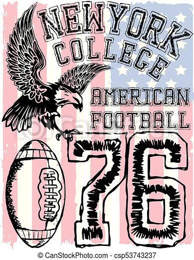 American football - Vintage vector print for boy sportswear in custom colors - csp53743237