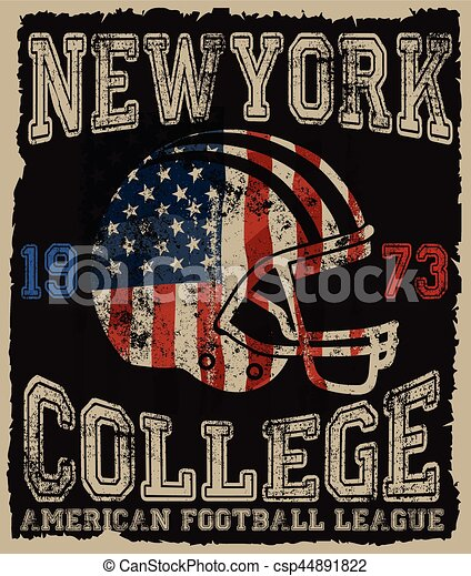 American football Vintage vector print for boy sportswear in custom - csp44891822