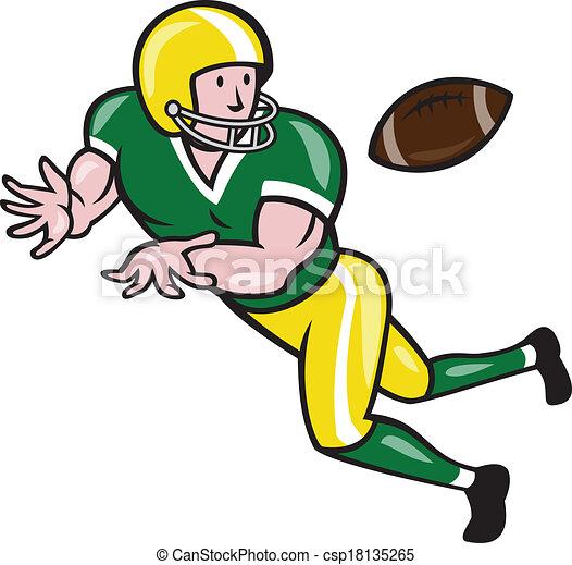 american football wide receiver catch ball cartoon clip art rh canstockphoto com