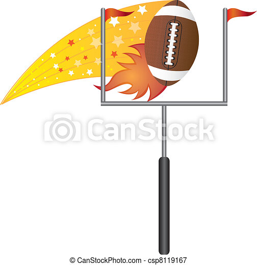 american football with goal post - csp8119167