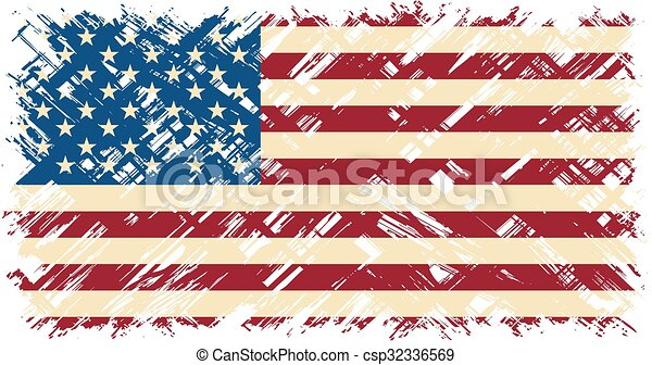 American grunge flag. Vector illustration. - csp32336569
