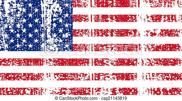 American grunge flag. Vector illustration. - csp21143819