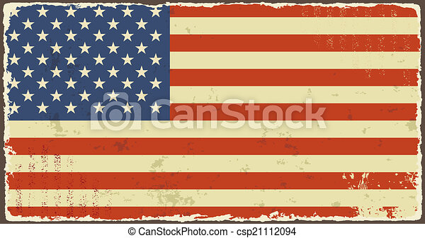 American Grunge Flags Vector Illustration Effect Can Be Cleaned Easily