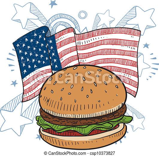 American hamburger sketch - csp10373827