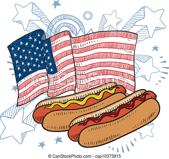 American hot dog sketch - csp10373915