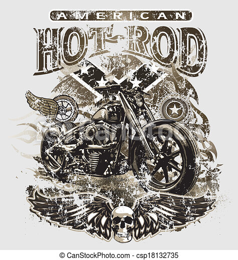 american hot rod motorcycle - csp18132735