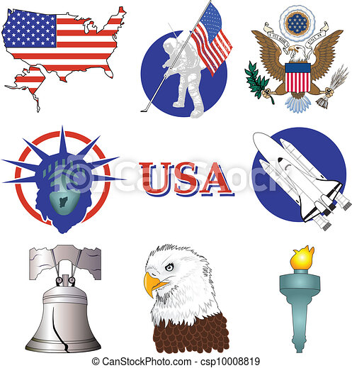 american icons vector illustration of nine american history rh canstockphoto com american history clipart free United States History