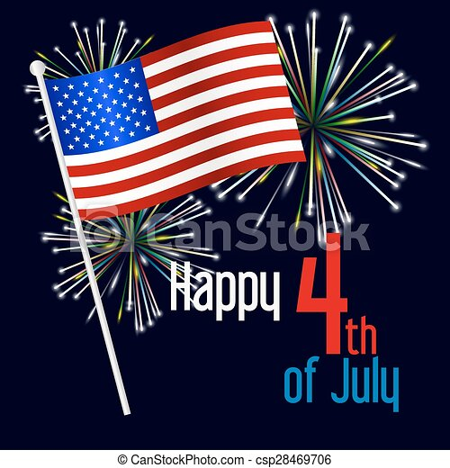 american independence day celebration with flag and fireworks eps10 csp28469706