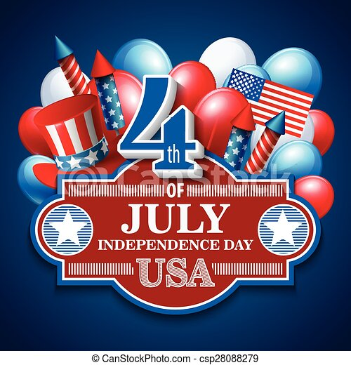 American Independence Day. Festive vector illustration - csp28088279