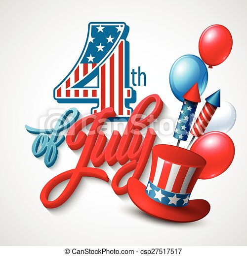American Independence Day. Festive vector illustration - csp27517517