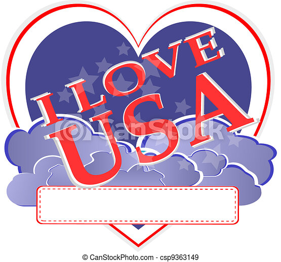 american independence day - usa heart shape design - csp9363149