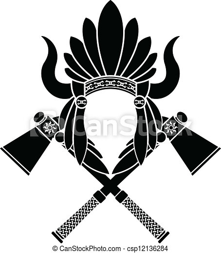 american indian headdress and tomahawks stencil vector search rh canstockphoto com indian headdress clipart black and white