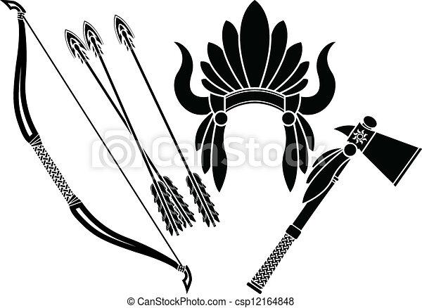 american indian headdress, tomahawk - csp12164848
