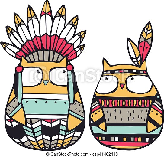 funny american indian owls vector illustration isolated on rh canstockphoto ca american indian clipart free download american indian clipart images