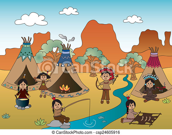 illustration of american indian village clipart search rh canstockphoto com clip art indian chief head clip art indian head